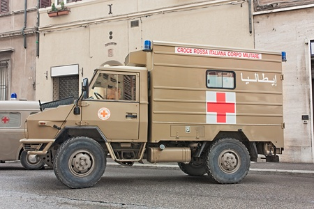 italian military red cross, ambulance veteran from Iraq exposed at festival