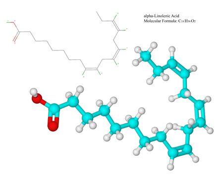 quimica organica: Vitamina F - molécula de ácidos grasos omega 3 ácido alfa-linolénico - ácidos grasos tienen muchos beneficios de salud y se encuentran en alimentos tales como pescado y aceites vegetales, semillas de lino o linaza y su aceite son una de las principales fuentes de ácido graso ALA