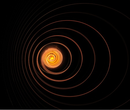 cosmic rays: glowing source of light and spiral rays - fantasy illustration of black hole in the cosmos Stock Photo