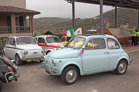 MERCATO SARACENO (FC) ITALY - APRIL 1: old italian cars at  day of Forlimpopoli, rally of vintage small car Fiat 500, on April 1, 2011 in Mercato Saraceno (FC) Italy