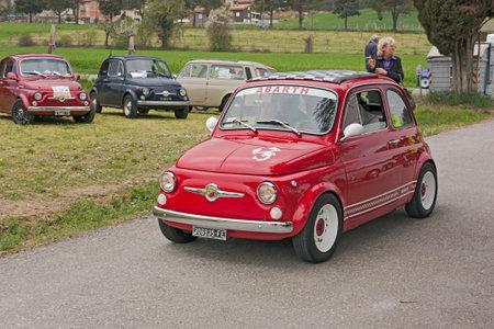 vintage italian sports car Fiat 500 Abarth at  Fiat 500 day of Forlimpopoli, rally of old car Fiat 500, on April 1, 2011 in Mercato Saraceno (FC) Italy