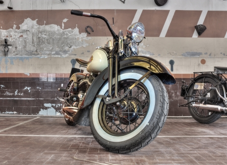 restored: old restored motorbikee Harley Davidson WL (1941) exposed at Agriolo, festivals where are exhibited old motorcycles and agricultural machinery, on April 15, 2012 in Riolo Terme (RA) Italy