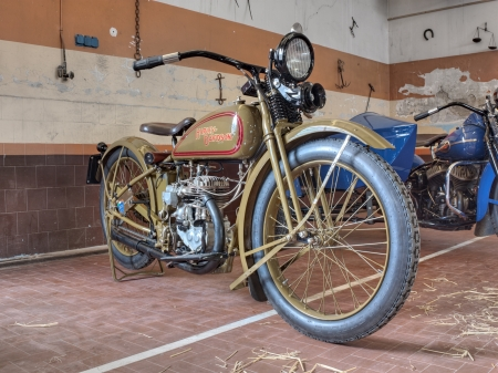 old restored motorbike Harley Davidson 350cc model B single cylinder (1926) exposed at Agriolo, festival of old motorcycle and agricultural machinery, on April 15, 2012 in Riolo Terme (RA) Italy