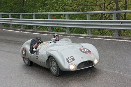 an old racing car Cooper T33 (1954) runs in rally Mille Miglia 2012, re-enactment of the old italian endurance race (1927-1957) on May 19, 2012 in Passo della Futa (FI) Italy