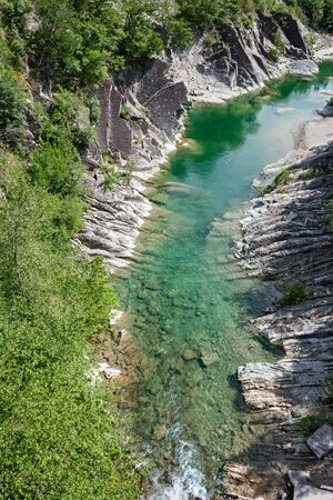 appennino: gorge of river Santerno, canyon on apennine mountains in Emilia Romagna, Italy