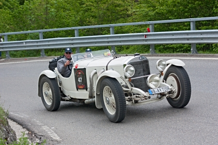 an old racing car Mercedes Benz 720 SSK (1929) runs in rally Mille Miglia 2012, re-enactment of the old italian endurance race (1927-1957) on May 19, 2012 in Passo della Futa (FI) Italy
