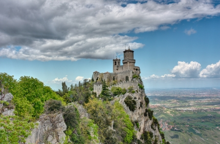 Republic of San Marino landscape  the ancient fortress Guaita, the oldest of the three towers on a peak of Monte Titano