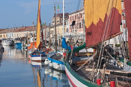 the harbor of Cesenatico  FC  Italy with the ancient fishing sailing boats of the Adriatic sea photo