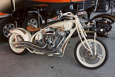 customized motorbike Harley Davidson at motorcycle rally Motorigadena 2012 on July 08, 2012 in Forli, Italy