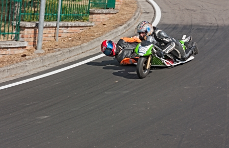 a sidecar without engine race in downhill at european championship speed down on July 28, 2012 in Predappio Alta, FC, Italy