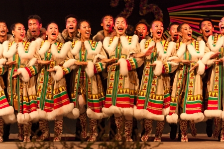 choir of the folklore ensemble AAR-AARTYK from Yakutia, Russia - russian singers and dancers in traditional dress  singing at International folk festival on August 5, 2012 in Russi, Ravenna, Italy