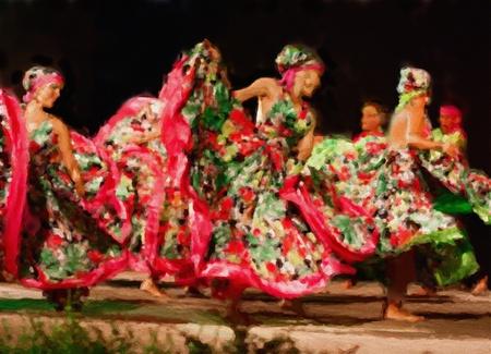 latin dance: met de hand gemaakte aquarel schilderij blij colombiaanse dansers die een traditionele latin dans uit te voeren Stockfoto