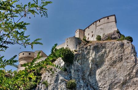emilia romagna: italian castle, medieval fortress on the hill - landscape of San Leo, Rimini, Italy