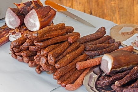 underbelly: italian delicatessen  craftsman salami and neck of pork salted and seasoned with spices and pepper Stock Photo