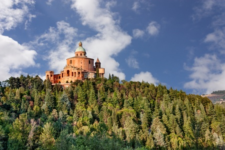 bologna: sanctuary of the Madonna di San Luca, antique church on the hill of Bologna, Italy  Editorial