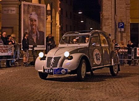 reenactment re enactment: old car Citroen 2CV AZ L (1954) runs in rally Gran Premio Nuvolari 2012, endurance race for classic cars, on September 21, 2012 in Meldola (FC), Italy