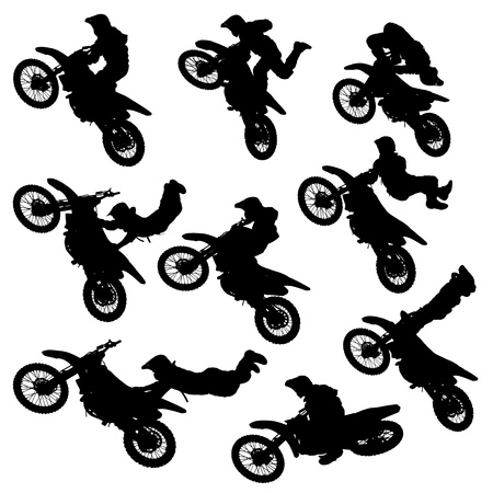 motocross riders: illustration silhouettes of motorcycle jumping - set of motocross freestyle jump isolated