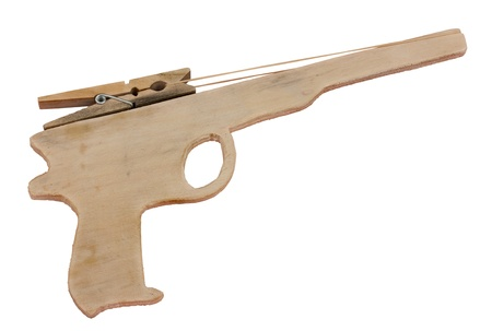 rubberband: old rubber band gun - children game of the past  Stock Photo
