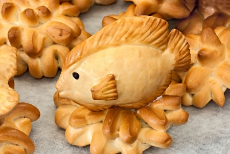 comestible: fish of bread, artistic edible sculpture on display in the bakery