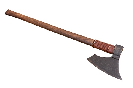 medieval battle axe - antique weapon used in middle ages fighting  Stock Photo