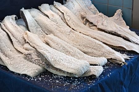 morue salée séchée, filets de poisson conservé dans du sel