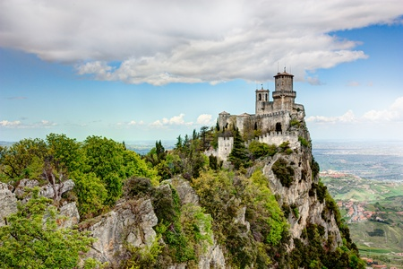 san marino: Republic of San Marino landscape: the ancient fortress Guaita, the oldest of the three towers on a peak of Monte Titano.