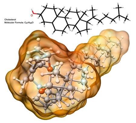 chimie organique: structure 3D de la mol�cule de cholest�rol avec formule chimique et le mod�le 2d - illustration de particule biologique isol� photo