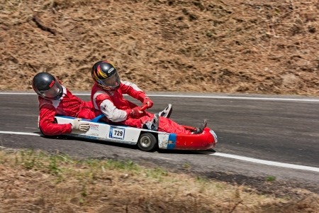 a wooden soap box car race at european championship speed down on July 28, 2012 in Predappio Alta, FC, Italy