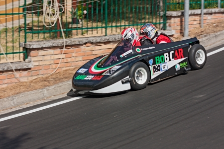 a soap box bob car racing at european championship speed down on July 29, 2012 in Predappio Alta, FC, Italy