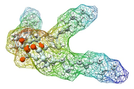 lipid: 3d model of triolein molecule, chemical formula and 2d structure