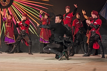 estival: dancers of ensemble Khorumi from Georgia performs traditional dance in typical dress at International folk festival on August 5, 2012 in Russi, Ravenna, Italy