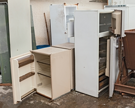 hazardous waste -  broken fridges containing cfc, danger to the ozone  Stock Photo