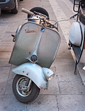 gran prix: vintage italian scooter exposed by the Vespa club Imola at old cars and motorcycle meeting Luigi Musso Historic Gran Prix  on October 8, 2011 in Imola (BO) Italy Editorial