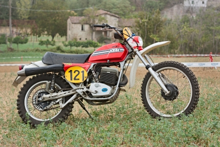 scrambler: a vintage off road motorcycle KTM at motorcycle cross-country rally La Mugiana de mutor on August 26, 2012 in Modigliana (FC) Italy