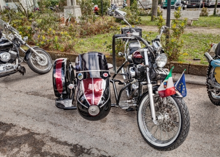 vintage motorbike Honda Shadow with sidecar at motorcycle rally Motosalsicciata 2013 on April 7, 2013 in Voltana di Lugo (RA) Italy