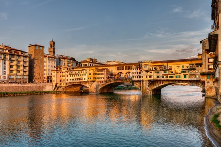 landscape at sunset of Florence, Italy  view of the famous landmark Ponte Vecchio  old bridge , a medieval bridge over the Arno river