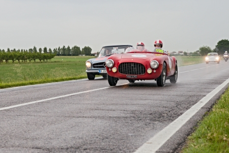 old racing car Ferrari 212 export (1951) in rally Mille Miglia 2013, the famous italian historical race (1927-1957) on May 17, 2013 in Ravenna, Italy
