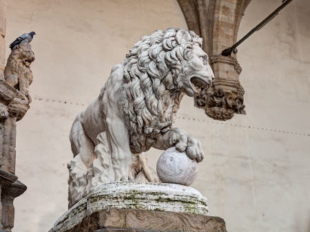 eye protectors: antique statue of a lion in Piazza della Signoria, Florence, Tuscany, Italy