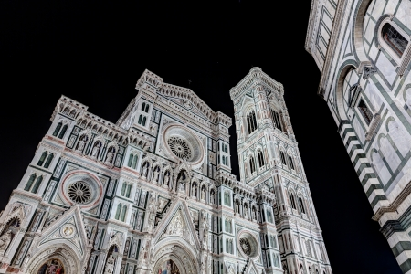 night view of the cathedral Saint Mary of the Flower  italian  Basilica di Santa Maria del Fiore , the main church of Florence, Italy photo