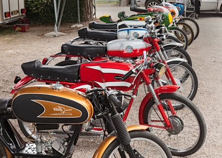 economic revival: vintage italian mopeds exposed at the motor festival Festa de mutor on June 9, 2013 in Pezzolo di Russi, RA, Italy Editorial