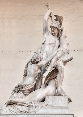 Florence, Loggia della Signoria, the antique marble sculpture The Rape of Polyxena, inspired by Greek mythology, of Pio Fedi, photo