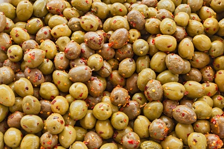 cured: italian food  salted cured olives with chili pepper