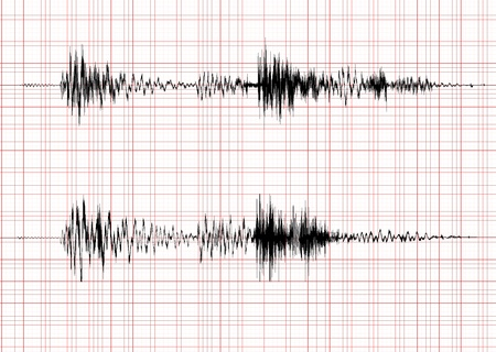 vibration: seismogram for seismic measurement - record on chart of earthquake wave on graph paper - stereo audio wave diagram
