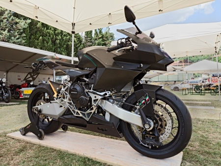 prototype of Italian super technological motorbike Vyrus road version, exposed at motorcycle show of Motoclub i Bradipi during the festival A tutta festa on July 7, 2013 in Fognano, RA, Italy