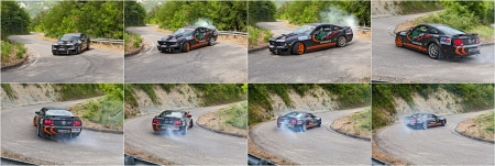 swerve: image sequence of a drifting racing car Ford Mustang in action with smoking tires in hairpin bend at Rally della Romagna 2013, on July 28, 2013 in Dovadola, FC, Italy