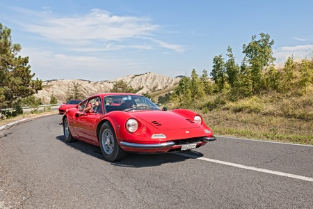 prestigious: vintage Ferrari Dino GT at rally  Trofeo Lorenzo Bandini  on August 31, 2013 in Brisighella, RA, Italy