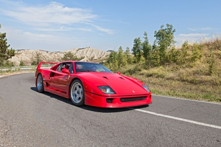 italian sports car Ferrari F40 at rally  Trofeo Lorenzo Bandini  on August 31, 2013 in Brisighella, RA, Italy  Editorial