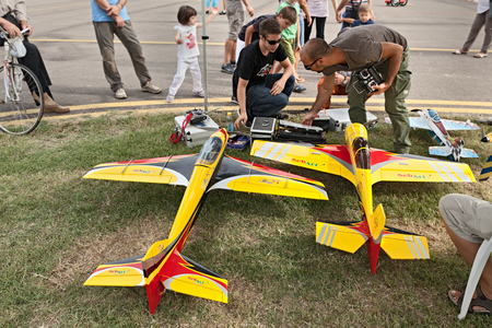 controlled: radio controlled model aircraft with electric motor exhibited at Expo