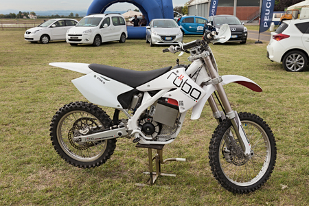 high powered: the electric motocross bike Robo Stone 1 0, an Italian ecological motorcycle, exhibited at  Expo
