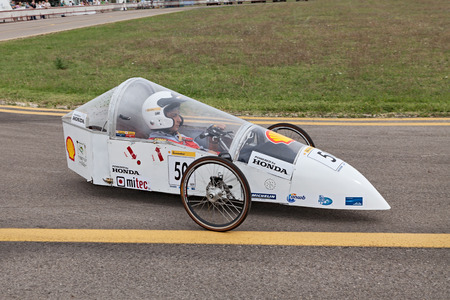the high fuel efficiency vehicle by italian school IPSIA  U  Comandini  Cesena, that took part at the competition Eco-Marathon, category prototype gasoline, runs on the track of Expo Editorial